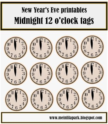 free printable New Year's Eve table decoration – clock and star snack toppers – Silvester Deko-Vorlagen | MeinLilaPark – DIY printables and downloads