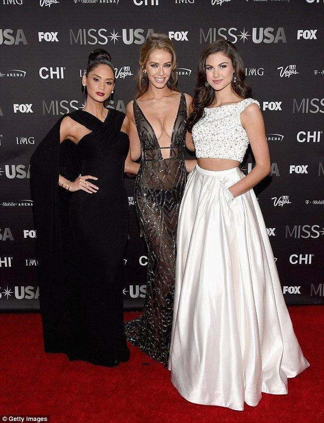 A new Miss USA will be crowned Sunday night after a series of controversies last year. Above from left, Miss Universe Pia Wurtzbach, Miss USA 2015 Olivia Jordan and Miss Teen USA 2015 Katherine Haik attend the 2016 Miss USA pageant in Las Vegas