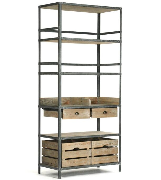 This quaint shelving unit has an antiqued metal frame. The eco-friendly shelves…