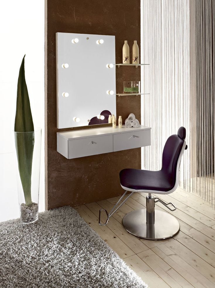 Contemporary Minimalist Vanity Dresser Design Feature White Wall