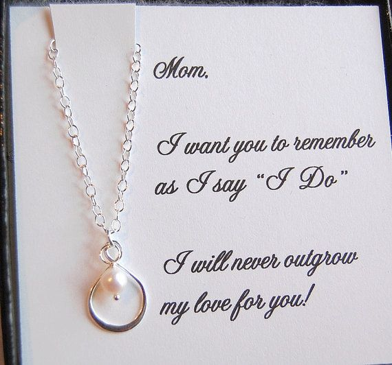 Mother of the Bride card with silver infinity pearl necklace,mother of bride gift, boxed gift set for Mom