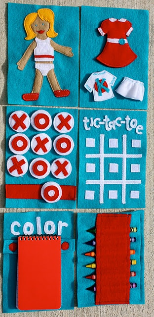 This personalized On The Go Book will grab any kids attention. Made of inexpensive felt, this book is just the right size to go in mom's bag. It comes with three activities: Dress-up Tic-Tac-Toe and Coloring