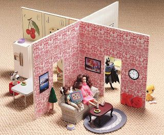 I had a clumsy Barbie house that took up so much space that it had to go.  This is a wonderful idea.  Just store it in a small suitcase and hide it away till the kids come to grandma's or a backpack for traveling.