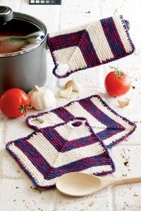 Knitted Americana pot holder: Americana Potholders, Knitting Patterns, Americana Pots, Pots Holders, Knits Crochet Patterns, Knits Patterns, Pot Holders, Knits Americana, Holders Potholders