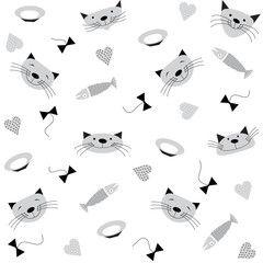 Бесшовный узор на белом фоне с изображением голов улыбающихся серых кошек, рыб, тарелочек с молоком, бантиков и сердечек.