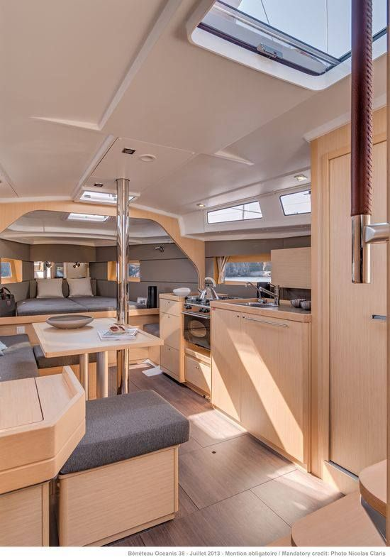 Beneteau Oceanis 38 Weekender with the open fwd berth and galley to stb Photo Cr…