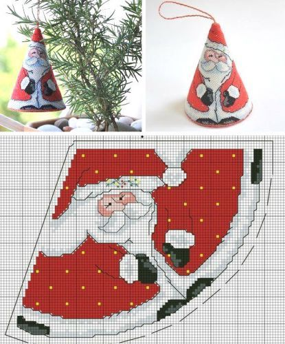 Christmas Embroidery - Santa cone decoration