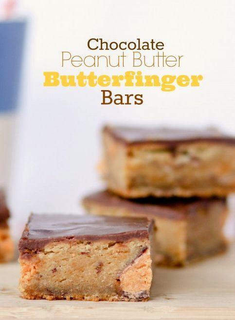 Chocolate Peanut Butter Butterfinger Bars