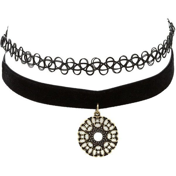 Charlotte Russe Black Tattoo & Velvet Choker Necklaces - 2 Pack by... ($6) ❤ liked on Polyvore featuring jewelry, necklaces, accessories, neck, black, velvet choker, black jewelry, dangle necklace, black choker necklace and black necklace