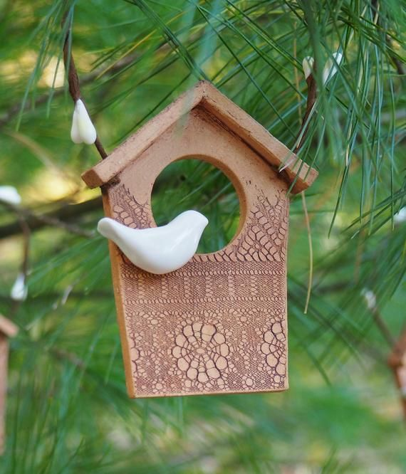 Perfect For The Bird Lover In Your Life This One Of A Kind Handmade Buff Stoneware Ornament Sports A Tiny Whi Ceramic Birdhouse Birdhouse Ornaments Ceramics