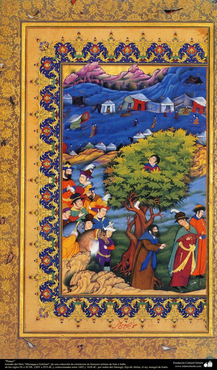 """""""walk""""- miniature of the book """"Muraqqa-e Golshan"""" - 1605 and 1628 A.D شاهکار مینیاتور فارسی - کتاب کوچک مرقع گلش"""