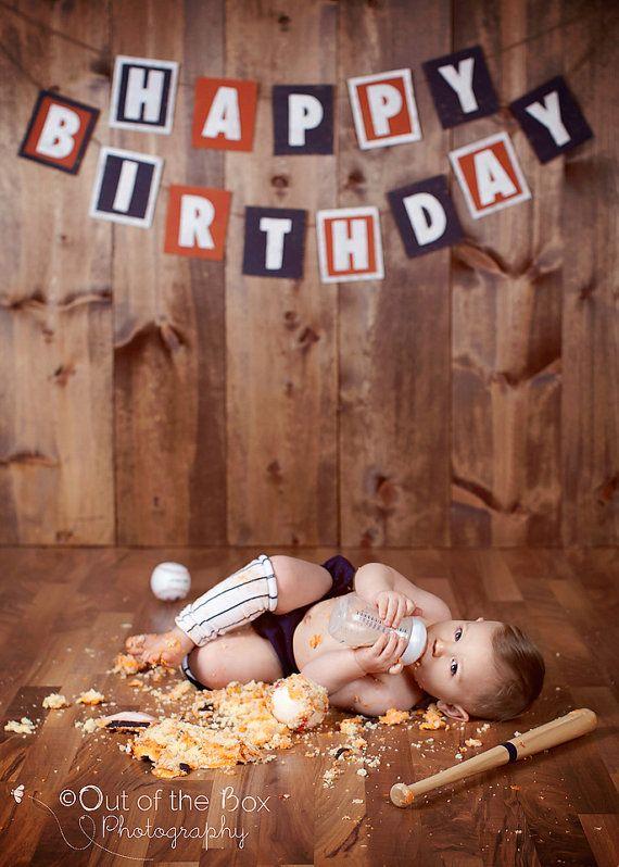 Baseball Cake Smash. Navy & Orange Happy Birthday Recycled Cardboard by AudrianaPaper