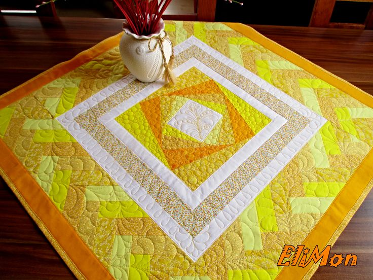 Yellow table - cloth, patchwork,quilt,