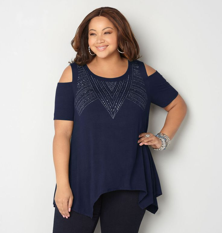 Shop the full collection of plus size tops like the Embellished Cold Shoulder Sharkbite Top available at avenue.com Avenue Store