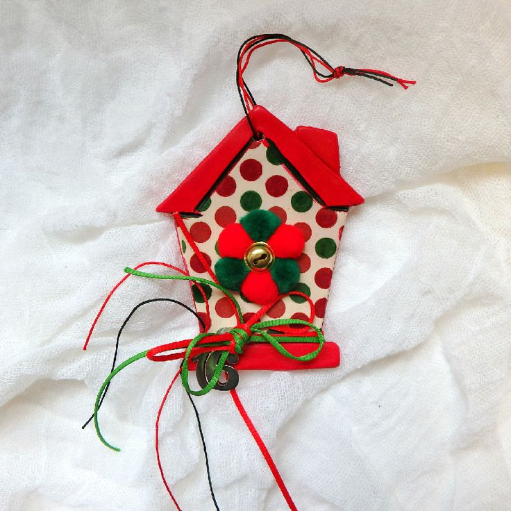 New year good luck charm Christmas tree decor vbird house  good luck gift ceramic ornament hanging Christmas house by kosmobysoul on Etsy