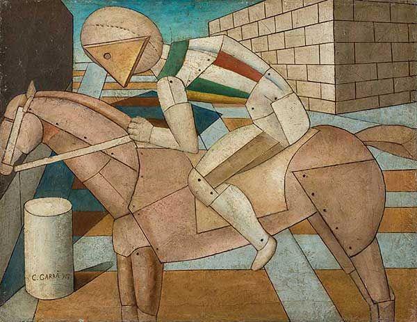 Carlo Carrà – Il cavaliere occidentale, 1917, Olio su tela, cm 52 x 67, Collezione privata - Opera in mostra