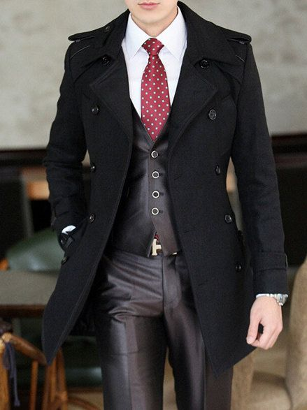 Mens Double Breasted Long Winter Wool Coat Jacket