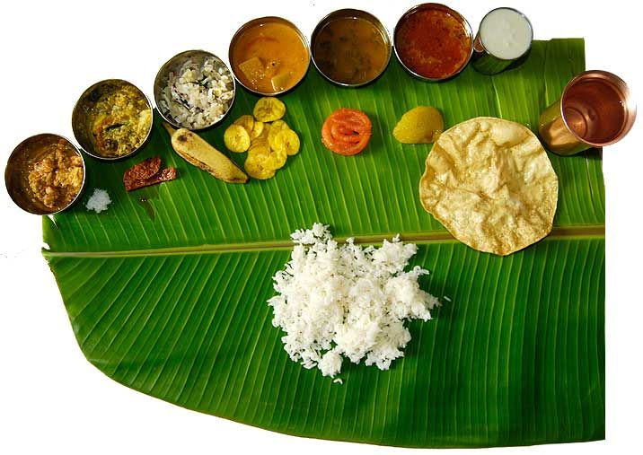 South Indian Recipes. South Indian Meals on the Banana leaf