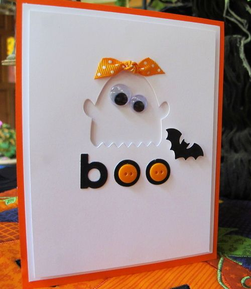 Sweet BOO. Ghost Card...with googly eyes & orange buttons...By:Heart Prints.
