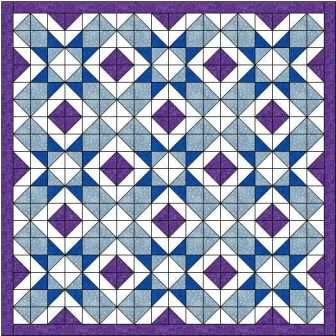 The crossbow star quilt block is my own design, with light blue crossbows containing dark blue stars. A little added purple gives extra interest.