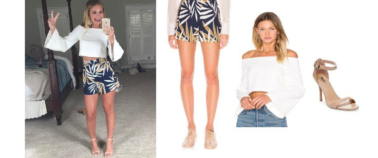 Southern+Charm:+Season+4,+Episode+3:+Cameran+Eubanks`+Blue+Leaf+Shorts,+White+Top+and+Sandals