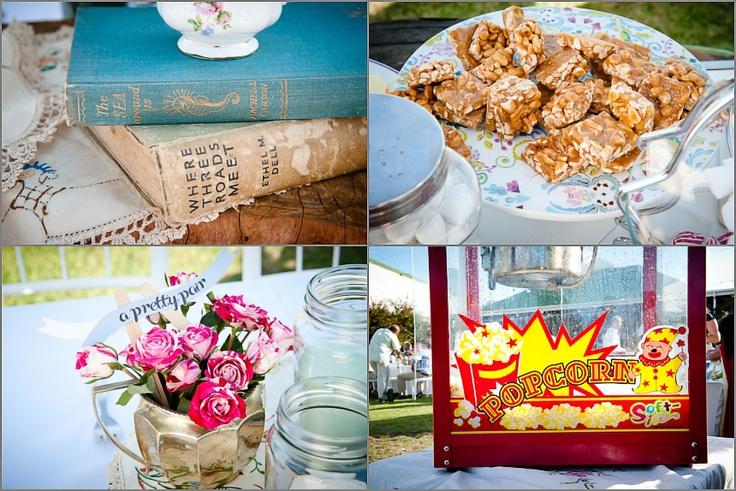 vintage books, peanut clusters, mini-roses and popcorn
