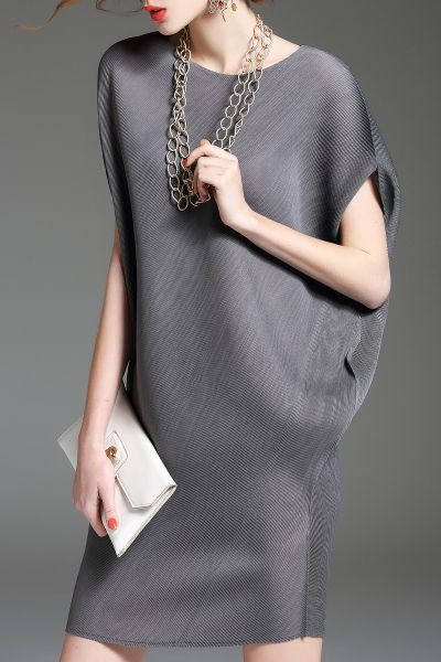 Batwing Sleeve Mini Shift Dress - GRAY ONE SIZE(FIT SIZE XS TO M)