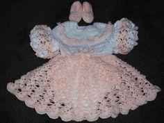 Beautiful Lacy Pink & White baby ensemble - Free Crochet Patterns: Free Crochet Baby Dresses Patterns