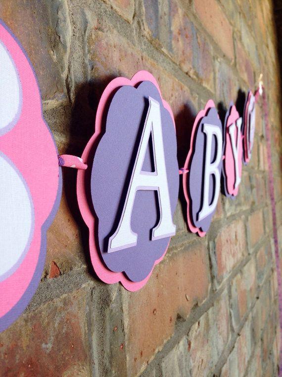 Bandera de buho color rosa y púrpura búho bebé por Skrapologie