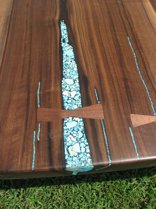 hand made crotch walnut slab dining table turquoise inlaid by haymore enterprises inc custommade - Stone Slab Dining Room Decorating