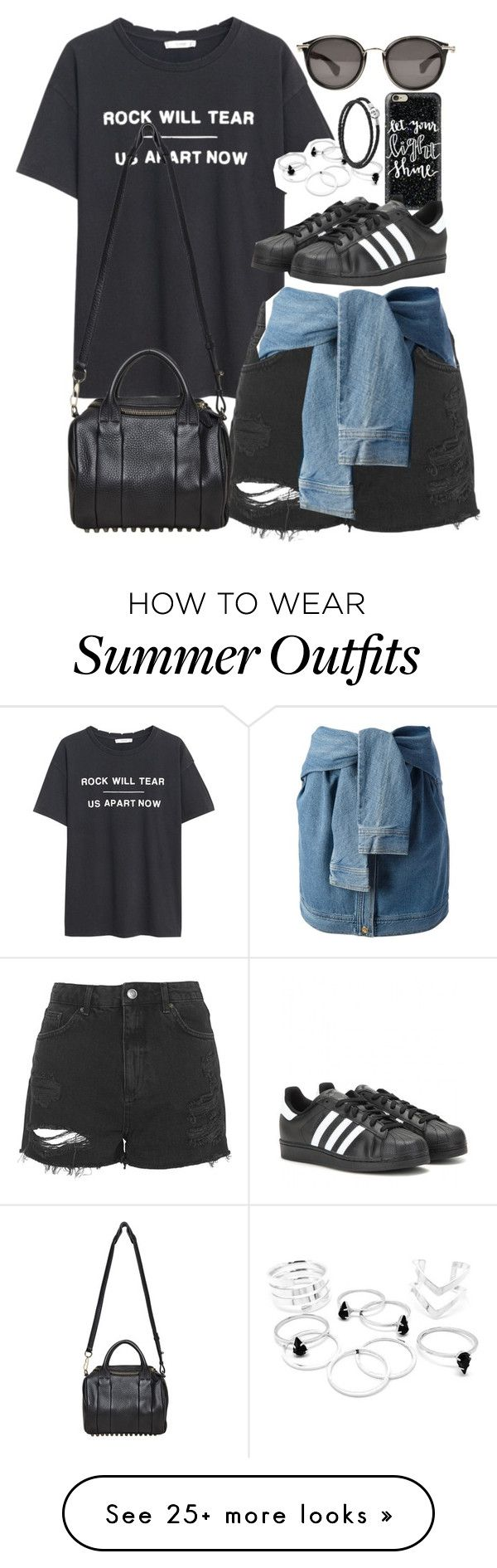 """""""Outfit for summer with sneakers"""" by ferned on Polyvore featuring MANGO, Topshop, DKNY, Alexander Wang, Casetify, adidas, Pandora, Moncler, women's clothing and women's fashion"""