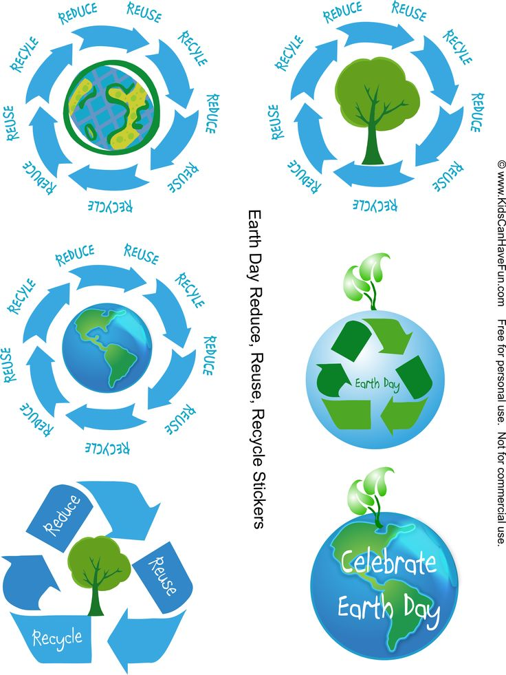 Reduce, Reuse, Recycle Earth Day Stickers http://www.kidscanhavefun.com/earthday-activities.htm #earthday #reduce #reuse #recycle