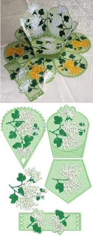 Advanced Embroidery Designs - Chrysanthemum Bowl and Doily Set