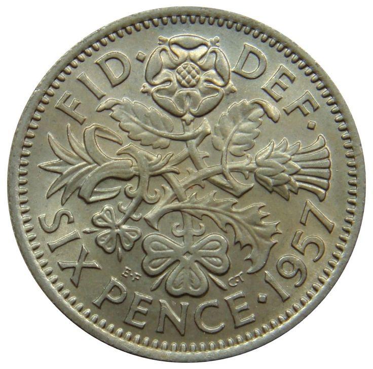 (C0) - Grossbritannien U. Kingdom - 6 Pence 1957 - Tudor Rose - UNC - KM# 903 #coin #coins #numismatic #numismatics #numismatik #münzen #currency #money #ebay