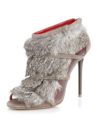 Eclipse+Fur+Bootie,+Gray+by+Charles+Jourdan+at+Neiman+Marcus+Last+Call.