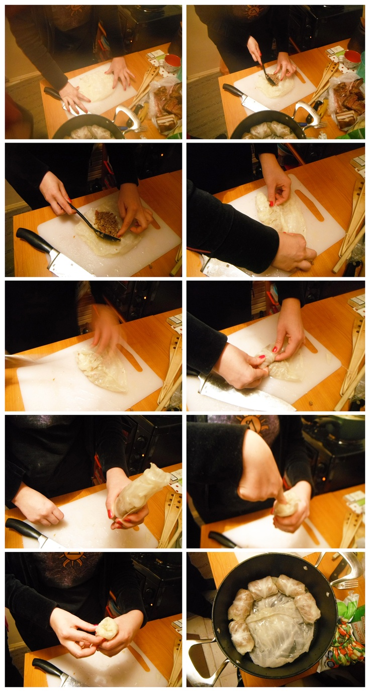 How to roll sarma (cabbage rolls).