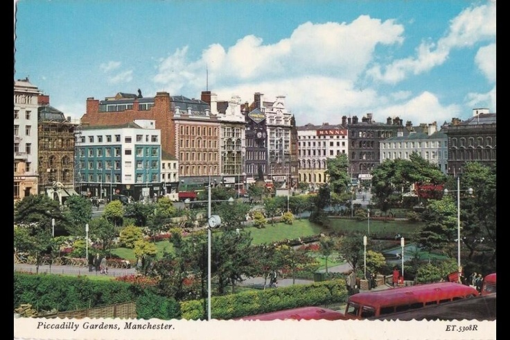 Postcard with a photograph of Piccadilly Gardens, Manchester, UK, c.1960s-1970s.