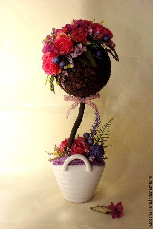"""Топиарии ручной работы. Ярмарка Мастеров - ручная работа. Купить Кофейный топиарий """"Розалинда"""". Handmade. Разноцветный, подарок женщине"""