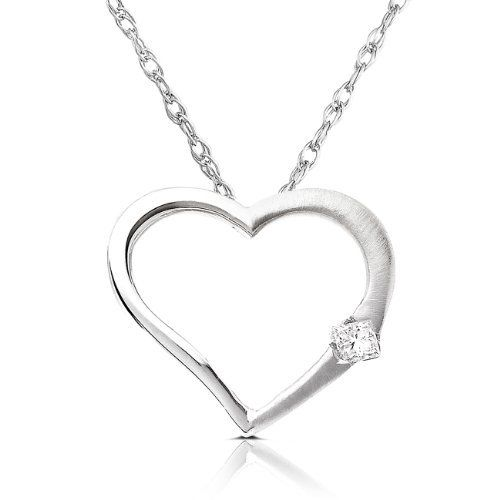 Diamond Heart Shaped Pendant in 14k White Gold (GH/SI) Diamond-Me. $189.99