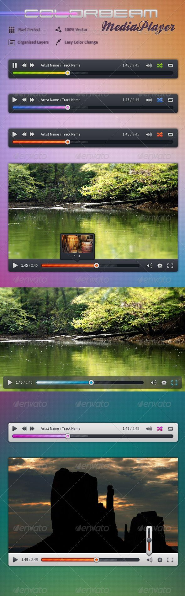 Colorbeam MediaPlayer  #GraphicRiver         Design for a Video/Audio WebPlayer or standalone MediaPlayer application. Available in 2 basic colors (black and white) and easy editable colors of the processbar, handle dot, volume meter and control icons. A short instruction how to change the colors is included.  Features   100% Vector Shapes  Pixel Perfect  Organized Layers  2 basic colors: Black and white  Windowed and fullscreen mode design  Easy editable processbar, handle dot, volume meter…