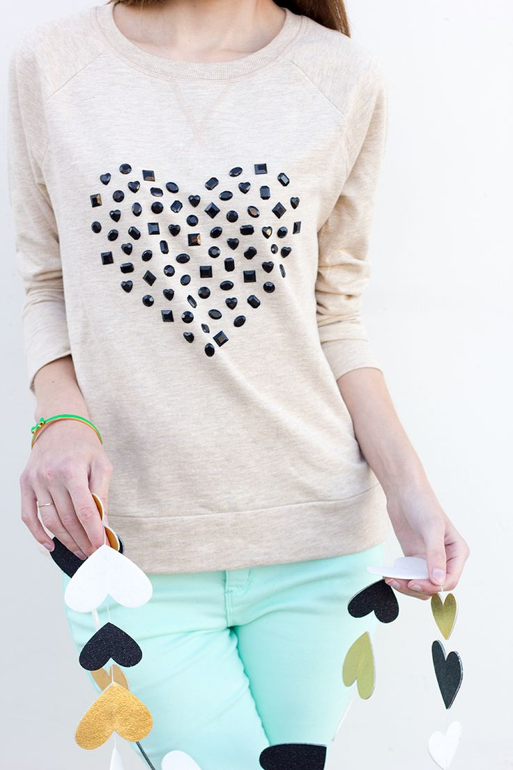 DIY: jeweled heart sweatshirt