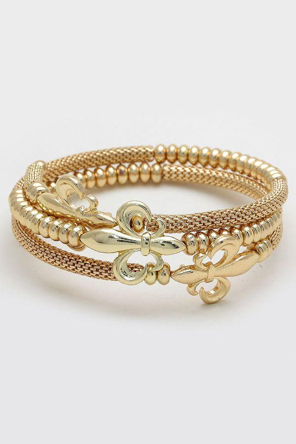 Fleur de Lis Bracelet | Women's Clothes, Casual Dresses, Fashion Earrings & Accessories | Emma Stine Limited