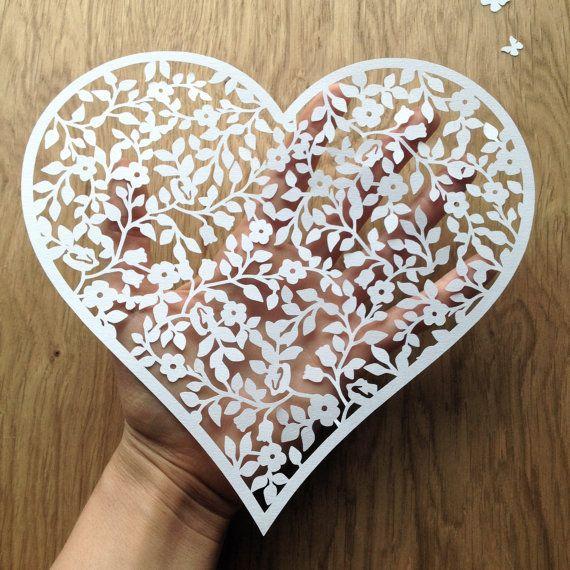 DIY / CYO Papercut Vintage Flower Heart by TommyandTillyDesign