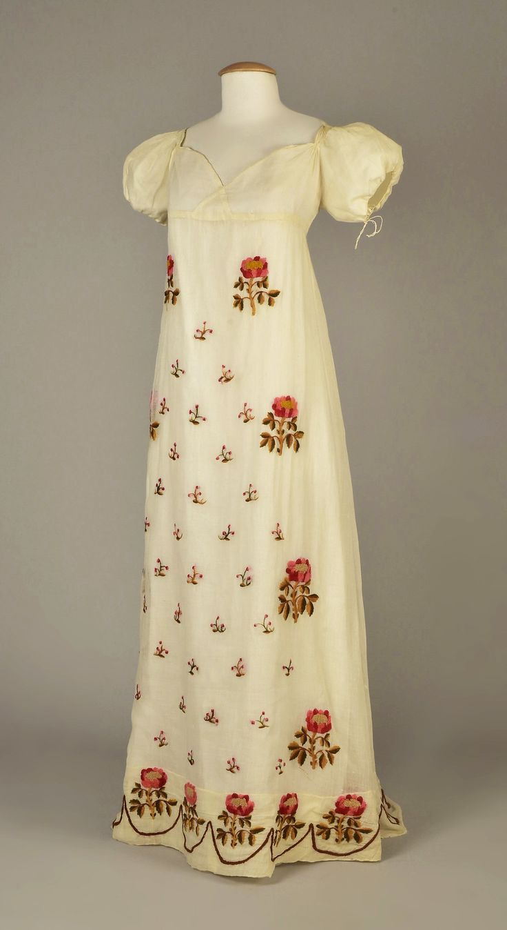 Dress, cotton with silk, no location available, ca. 1815