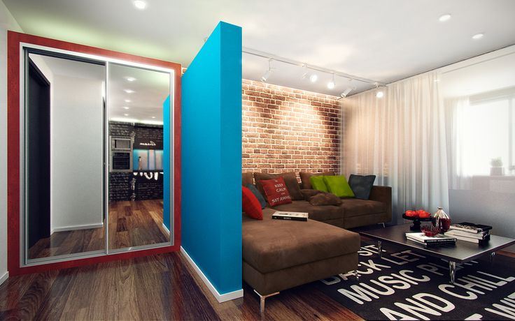 Studio apartment for a young man. Created with Victoria Misharina.