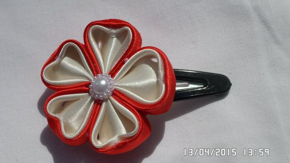 Kanzashi Satin Ribbon Hair Clip by tianadesign on Etsy