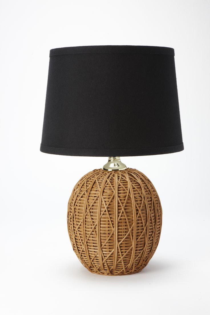 Nate Berkus Woven Rattan Table Lamp Base With Black Linen