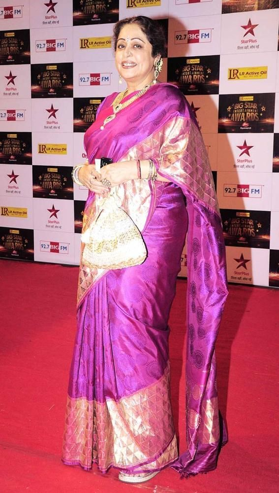 kirron kher in a silk sari .