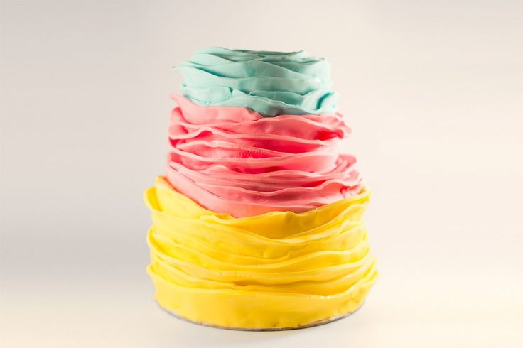 ruffled three color fondant cake