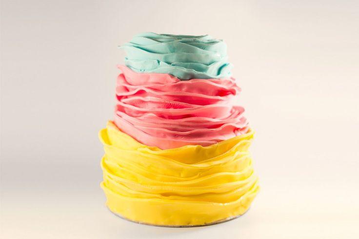 ruffled three color fondant cake